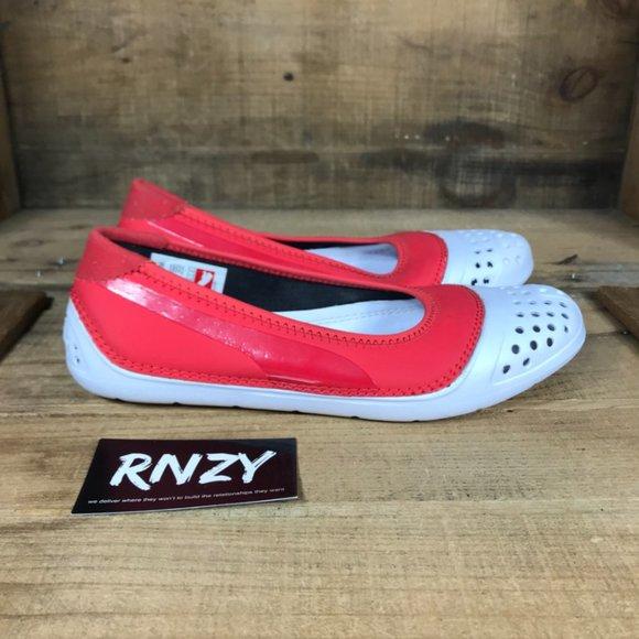 Puma Weartest Red White Round Toe Slip On Flats